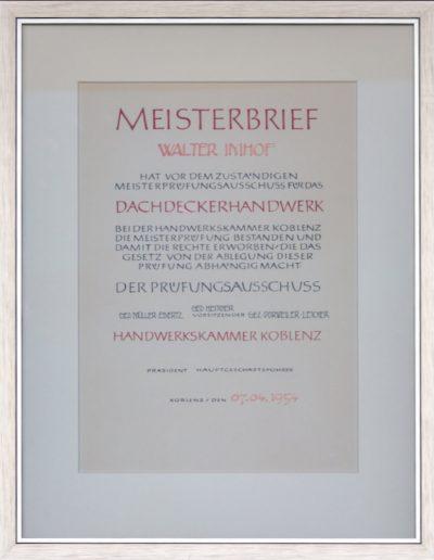 Meisterbrief des Dachdeckerhandwerks Walter Imhof