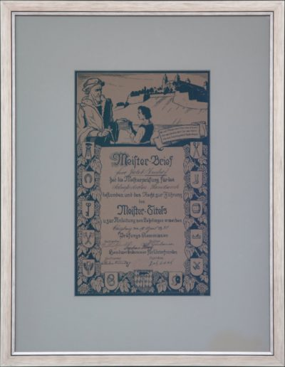 Meisterbrief des Dachdeckerhandwerks Jakob Imhof