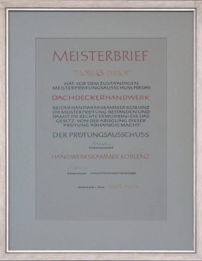 Meisterbrief des Dachdeckerhandwerks Thomas Imhof