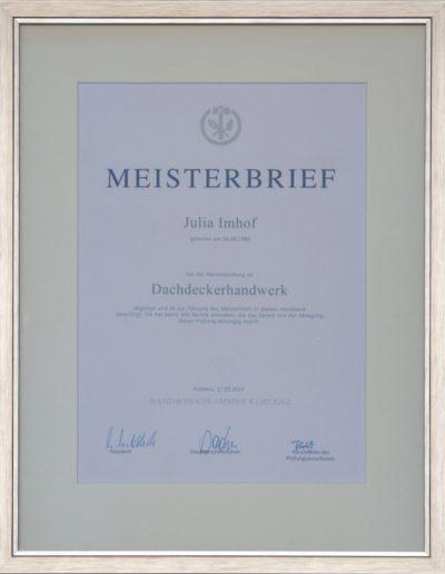 Meisterbrief des Dachdeckerhandwerks Julia Imhof